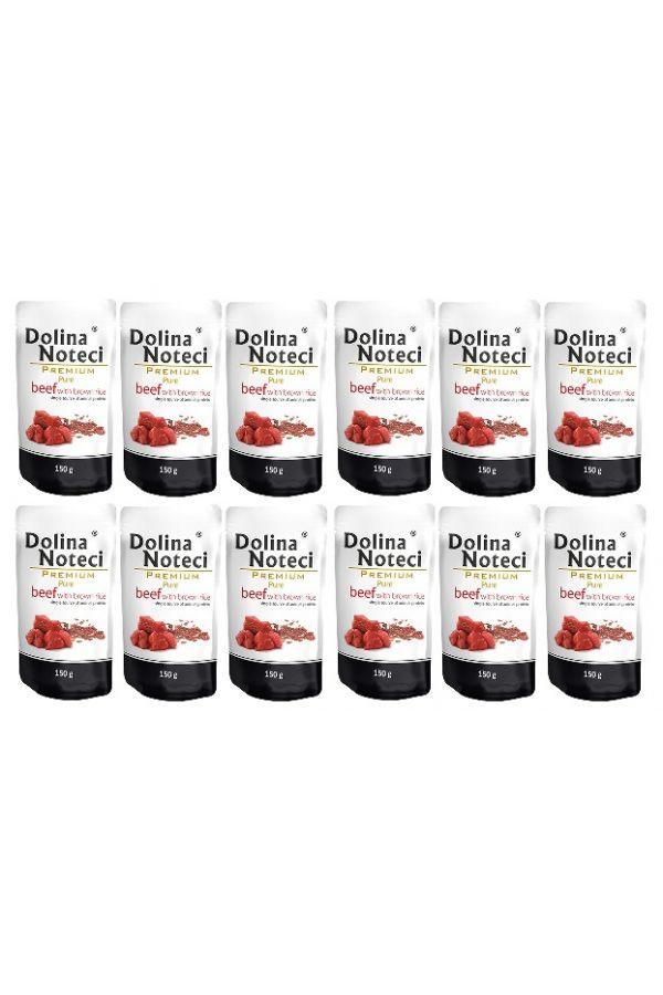 Pakiet Dolina Noteci Premium Pure Wołowina z Brązowym Ryżem 12 x 150 g