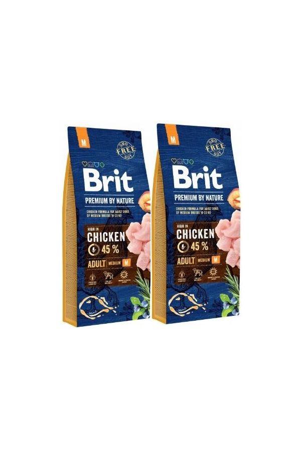 Brit Premium By Nature Adult Medium Kurczak 2 x 15 kg