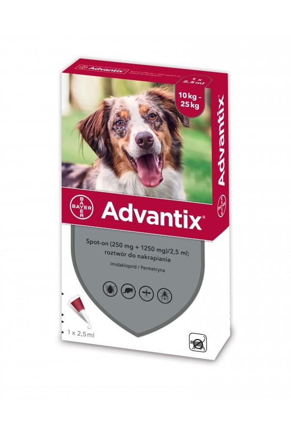 Bayer Advantix Spot On dla Psów od 10 do 25 kg 2,5 ml