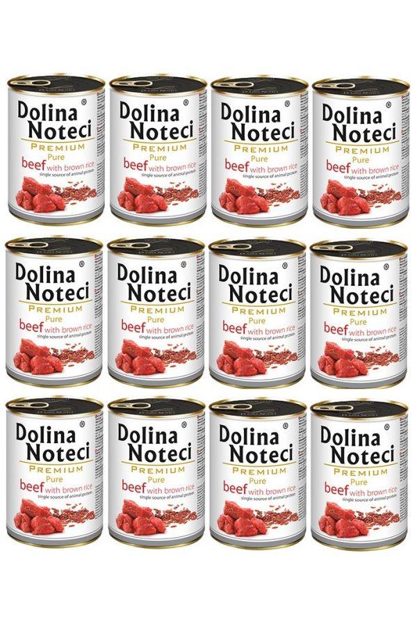 Pakiet Dolina Noteci Premium Pure Bogata w Wołowinę z Brązowym Ryżem 10 x 400 g