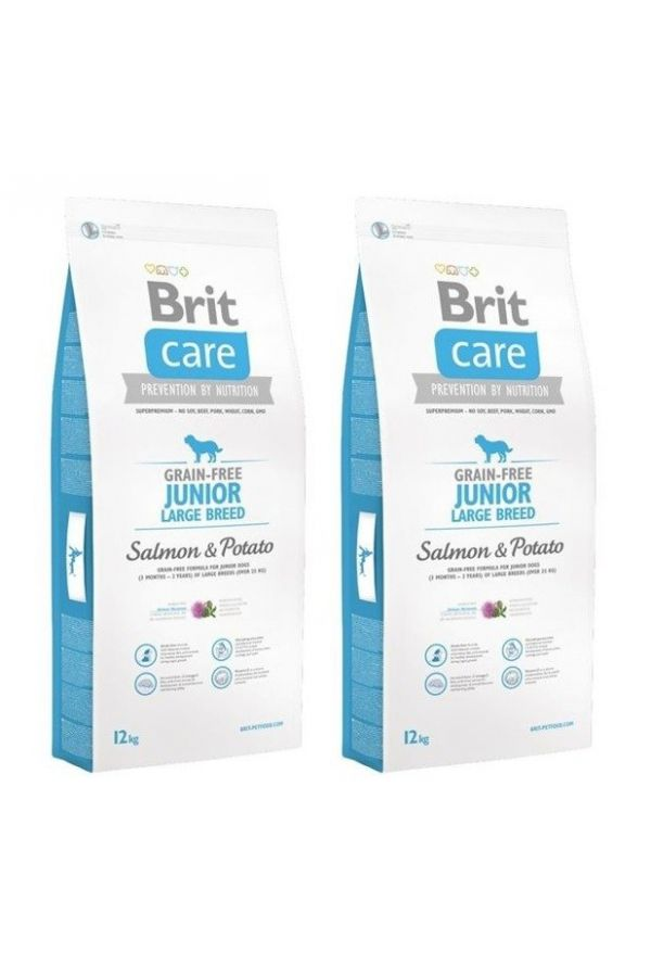 Pakiet Brit Care Grain Free Salmon & Potato Łosoś Ziemniaki Junior Large Breed 2 x 12 kg