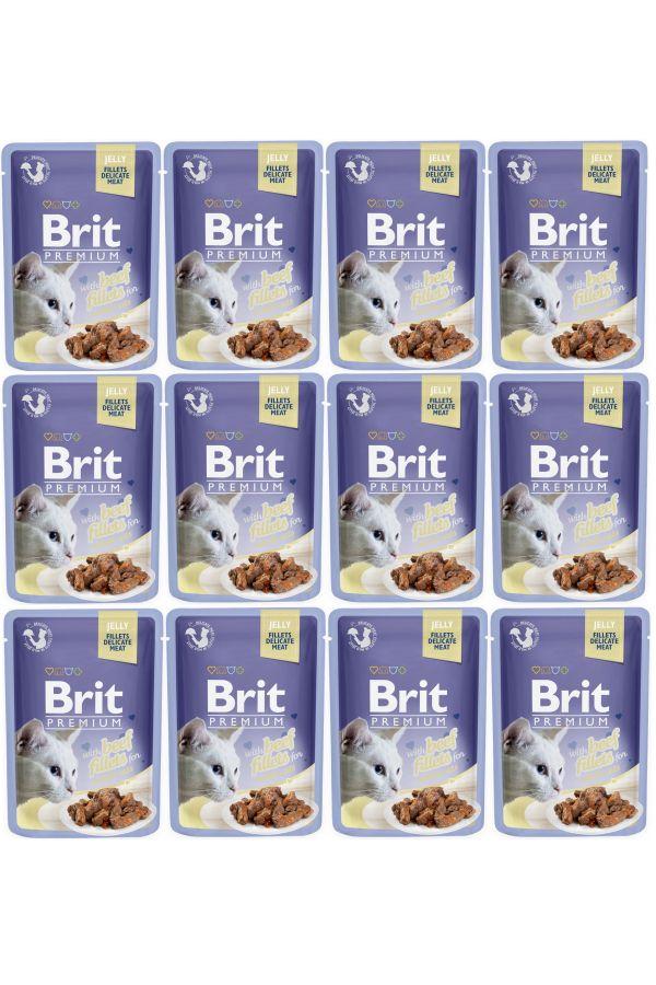Pakiet Brit Premium Beef Fillets in Jelly Wołowina w Galaretce 12 x 85 g