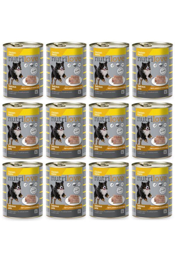 Pakiet Nutrilove Chicken Pate Pasztet z Kurczakiem 12 x 800 g