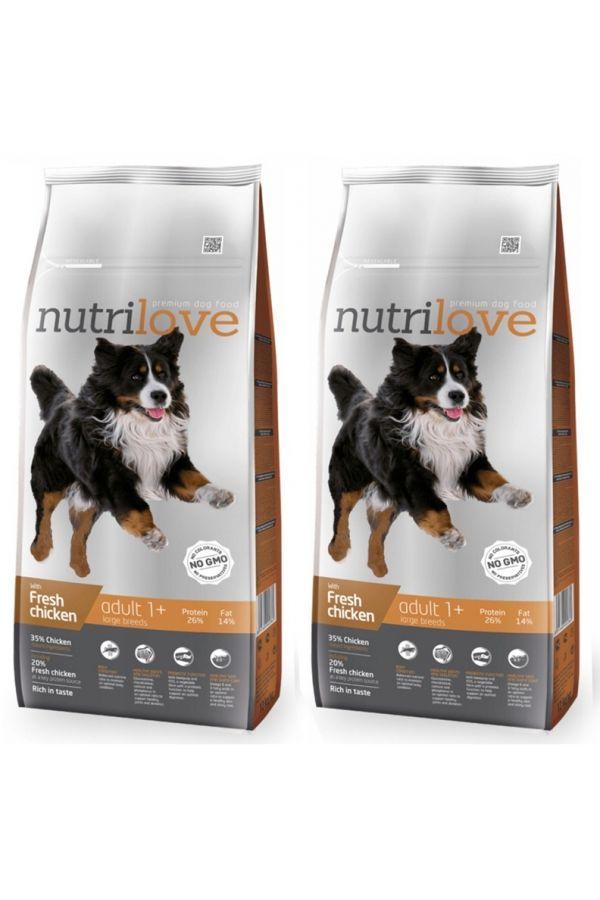 Pakiet Nutrilove z Kurczakiem L dla Psów Dużych Ras Adult 2 x 12 kg