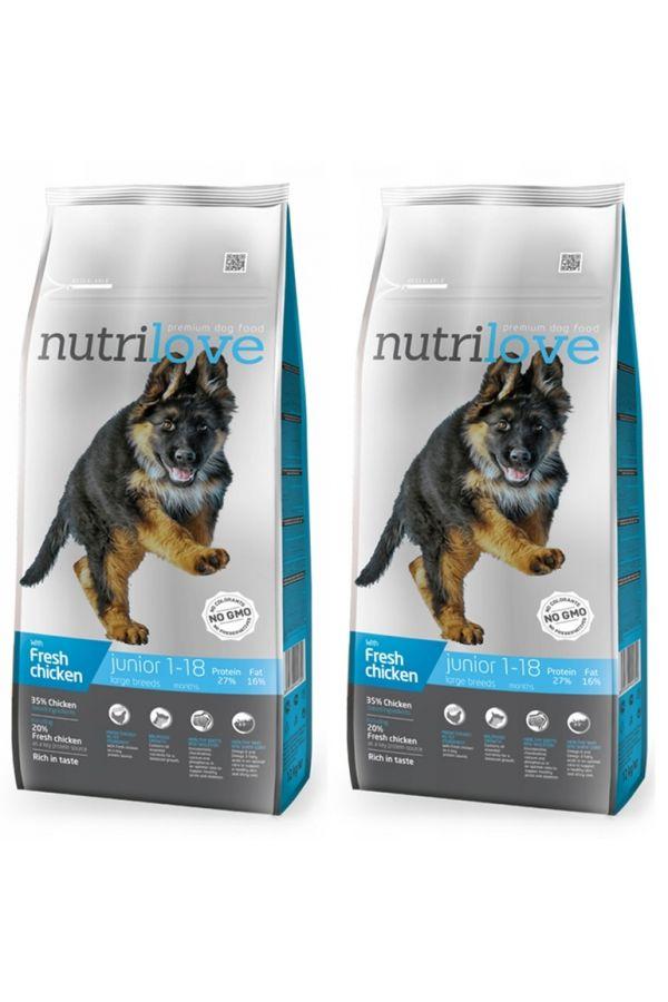 Pakiet Nutrilove z Kurczakiem Junior Large Dla Szczeniąt Dużych Ras  2 x 12 kg