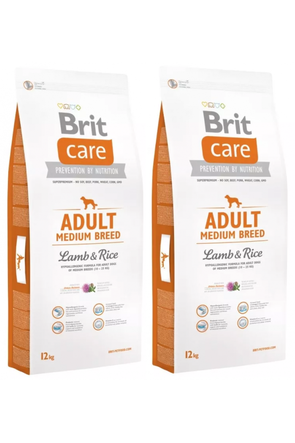Pakiet Brit Care Lamb & Rice Jagnięcina Adult Medium Breed 2 x 12 kg
