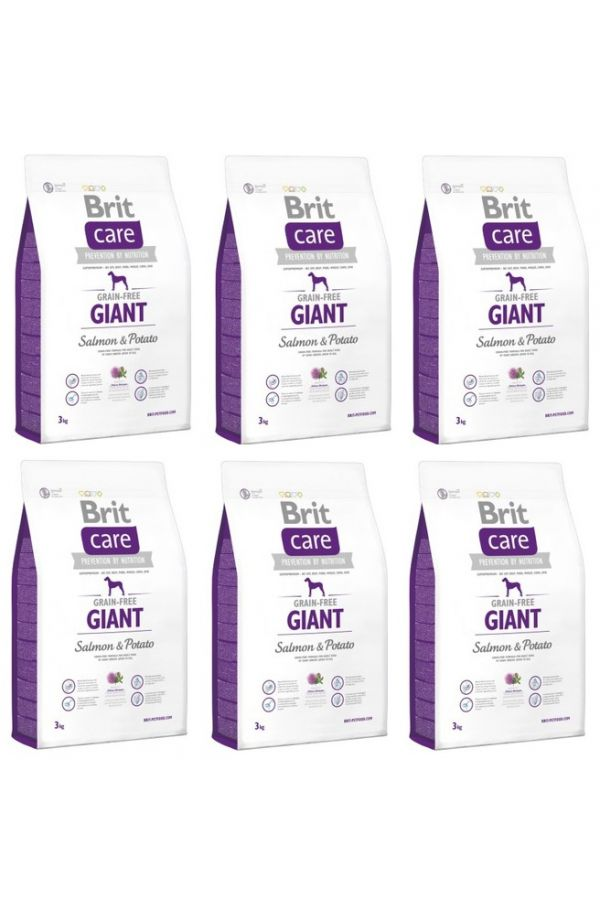 Pakiet brit care grain free giant salmon&potato 6 x 3 kg