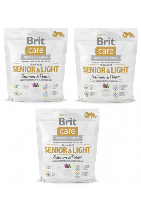 Pakiet brit care grain free senior&light salmon&potato 3 x 1 kg