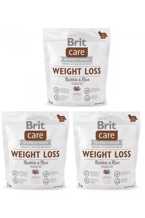 Pakiet Brit Care Weight Loss Rabbit & Rice Królik 3 x 1 kg