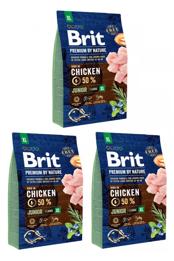 Pakiet Brit Premium By Nature Chicken Kurczak Junior XL 3 x 3 kg