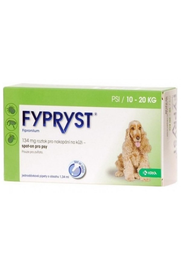 Fypryst Spot On 134 mg / 1,34 ml dla Psów 10 - 20 kg 10 Pipet
