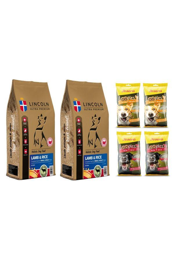Pakiet Lincoln Lamb & Rice Jagnięcina Ryż Adult Small 2 x 12 kg + gratisy
