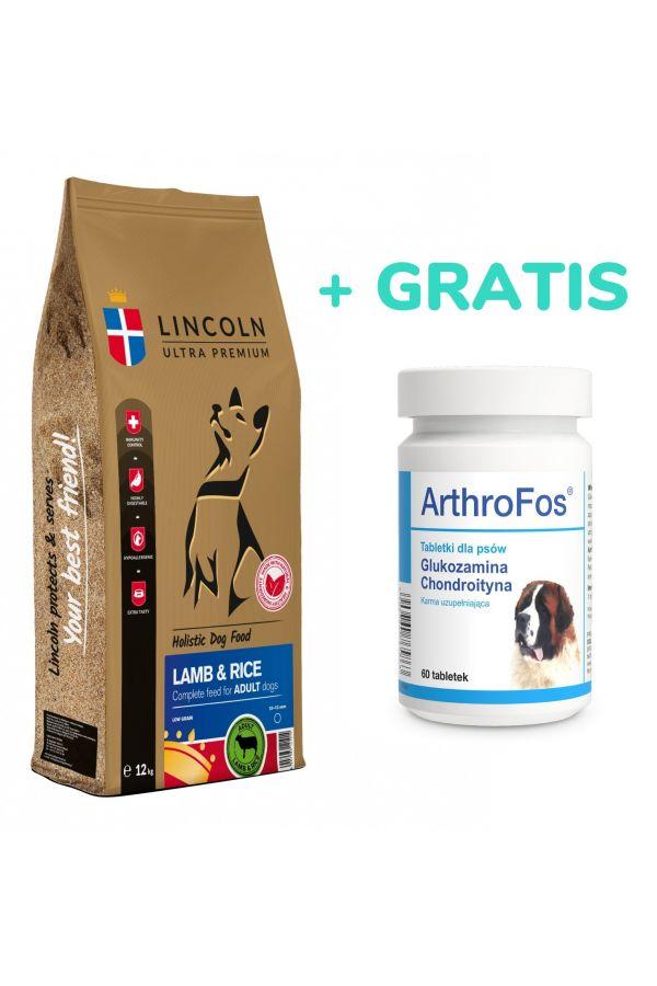 Pakiet Lincoln Large Lamb & Rice Jagnięcina Ryż Adult 12 kg + Dolfos ArthroFos 60 tabletek gratis