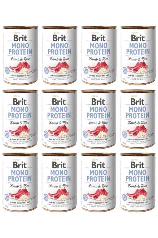 Pakiet Brit Mono Protein Lamb & Rice Jagnięcina Ryż 12 x 400 g