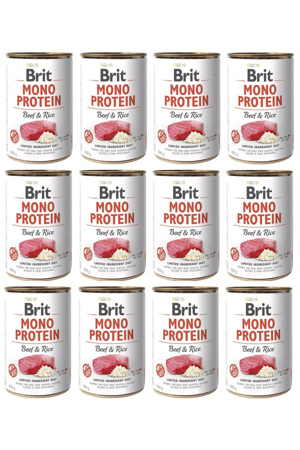 Pakiet Brit Mono Protein Beef & Rice Wołowina 12 x 400 g