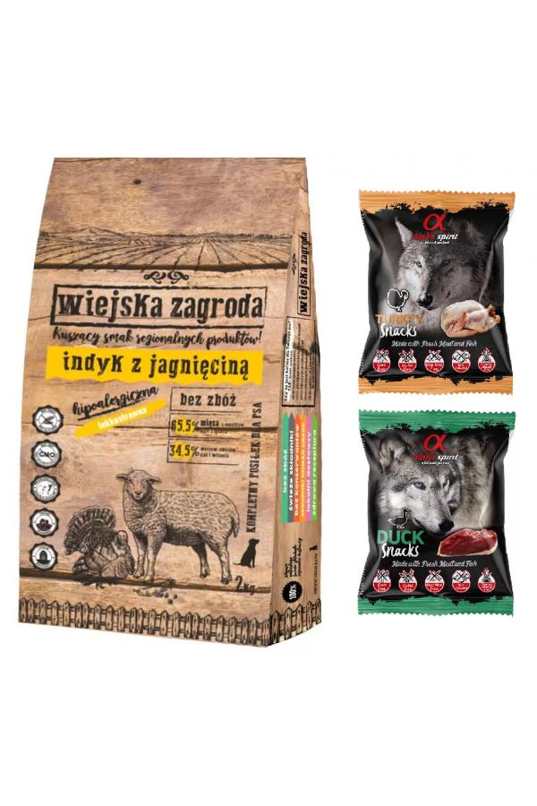 Pakiet Wiejska Zagroda Indyk z Jagnięciną 9 kg + Gratisy