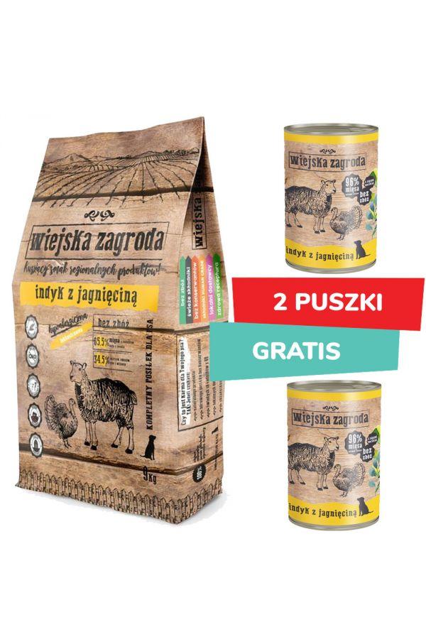 Pakiet Wiejska Zagroda Indyk z Jagnięciną 9 kg + 2 x Wiejska Zagroda Indyk z Jagnięciną 400 g Gratis