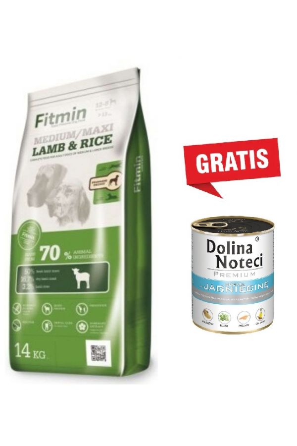 Pakiet Fitmin Medium Maxi Lamb & Rice Jagnięcina 14 kg + Dolina Noteci Premium Bogata w Jagnięcinę 800 g GRATIS!