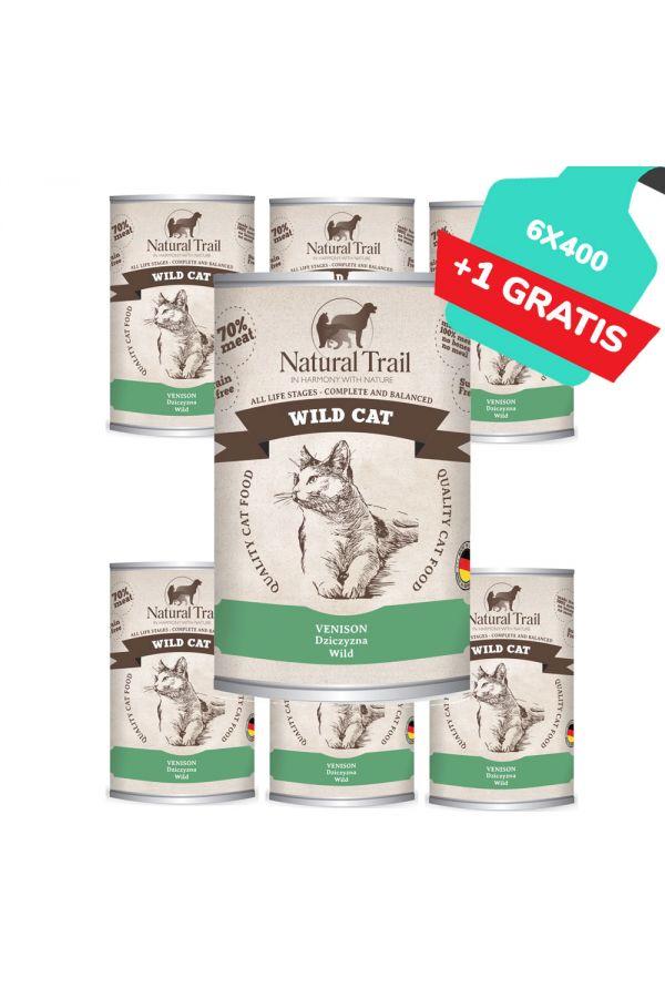 Natural Trail Wild Cat Dziczyzna Bezzbożowa 6 x 400 g + 1 gratis