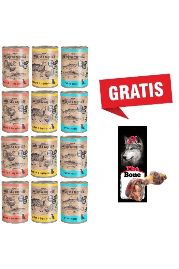 Pakiet Wiejska Zagroda Mix Smaków 12 x 400 g + Noga Hiszpańska nr 2 Gratis