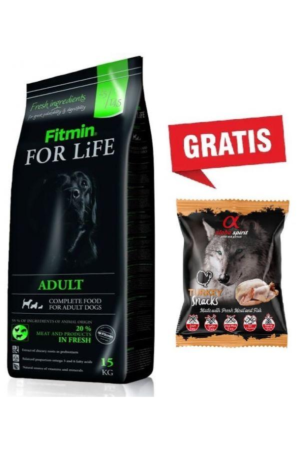 Pakiet Fitmin For Life Adult 15 kg + Alpha Spirit Przysmak Turkey Snacks Indyk 50 g GRATIS