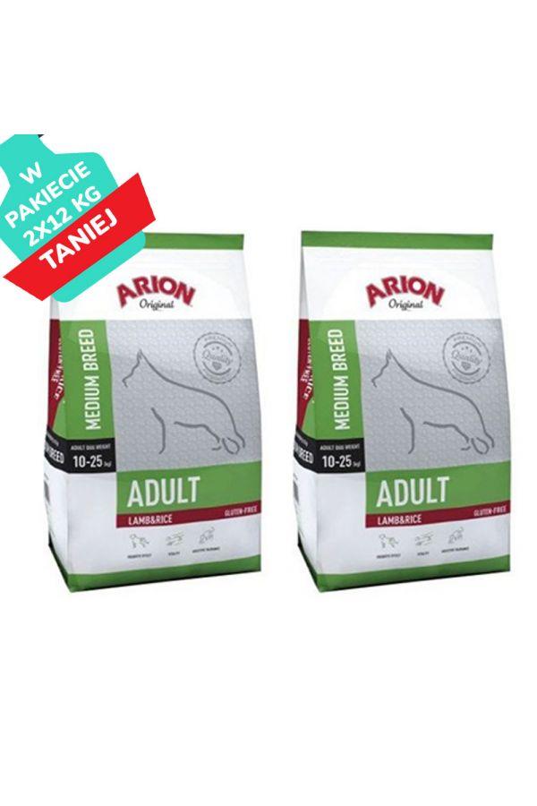 Arion Original Lamb & Rice Jagnięcina Ryż Medium Adult 2 x 12 kg