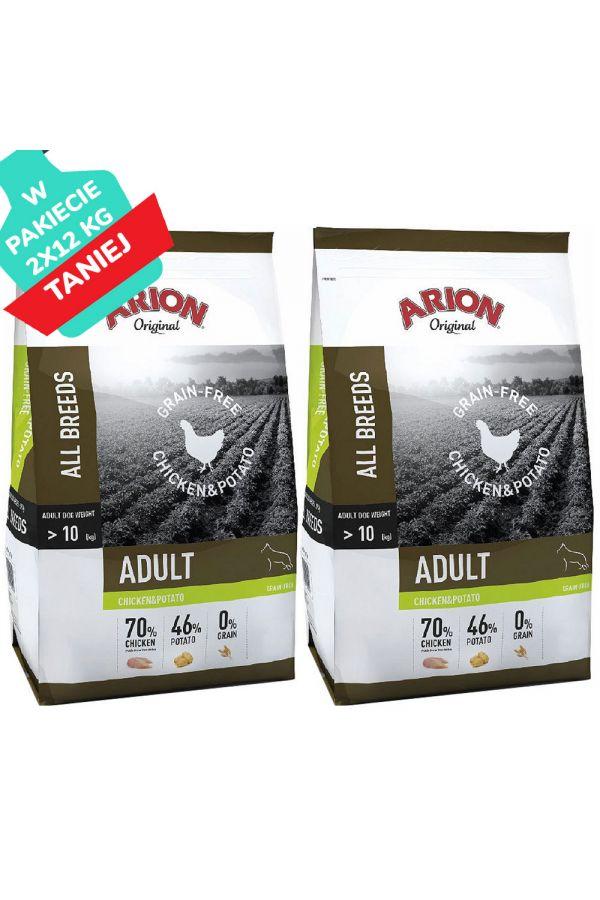 Arion Grain Free Chicken & PotatoKurczak Ziemniaki Bezzbożowa Adult 2 x 12 kg