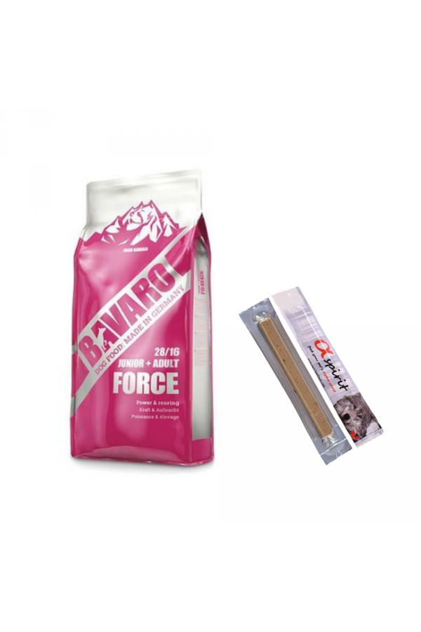 Pakiet Josera Bavaro Force 28/16 Aktywne Psy Junior Adult 18kg  + 2 x Przysmak z kaczką stick 10 g GRATIS