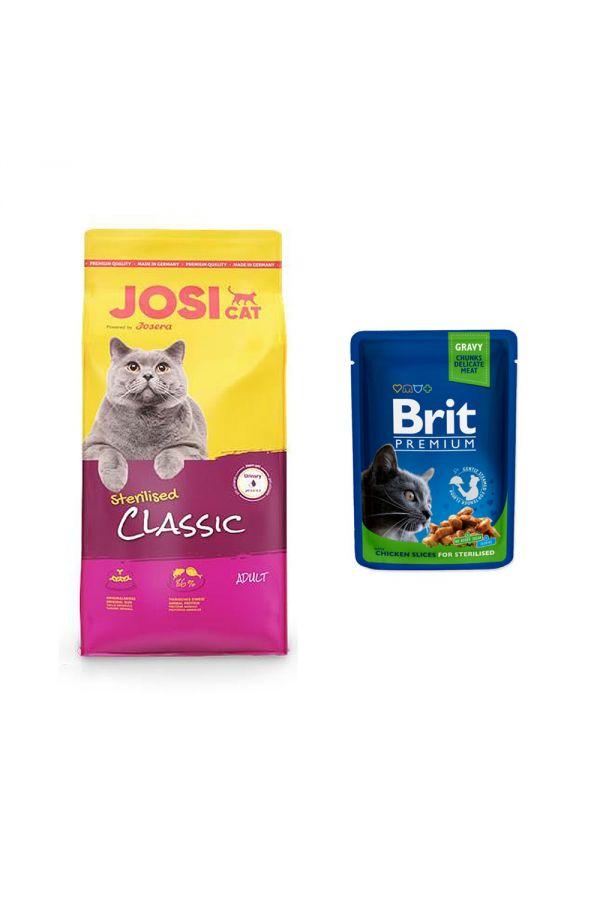 Pakiet Josera Josicat Sterilised Classic Drób Łosoś 10 kg + Brit Premium Chicken Slices for Sterilised 100 g GRATIS