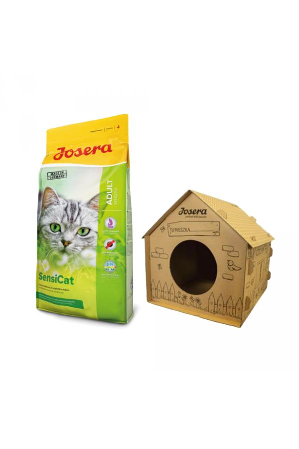 Pakiet Josera SensiCat Wrażliwy Żołądek 10 kg  + Tekturowy Domek dla Kota GRATIS