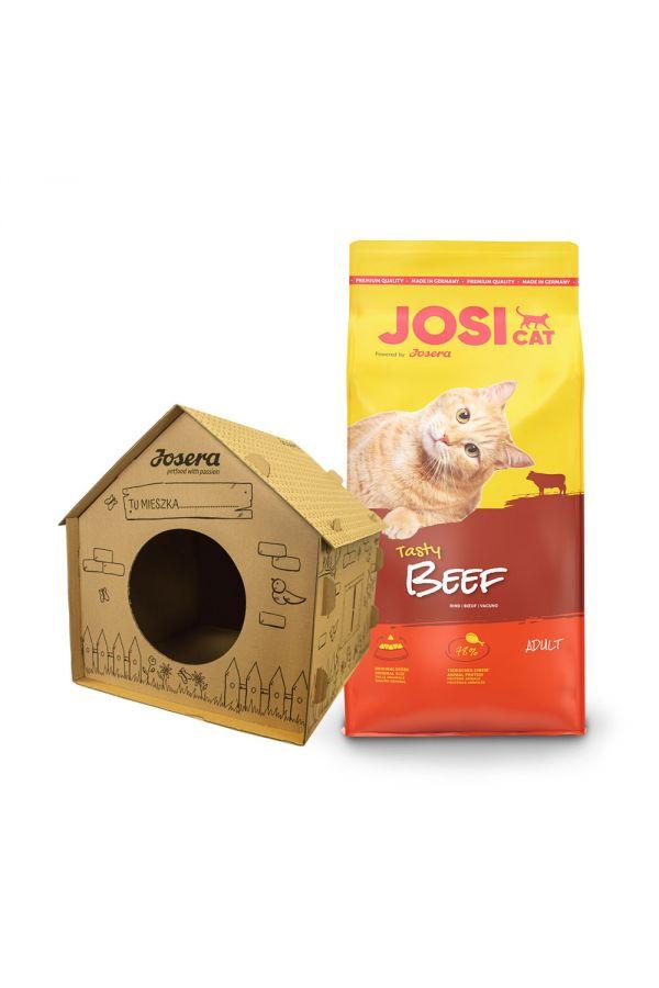 Pakiet Josera Josicat Tasty Beef Wołowina 10 kg + Tekturowy Domek dla Kota GRATIS