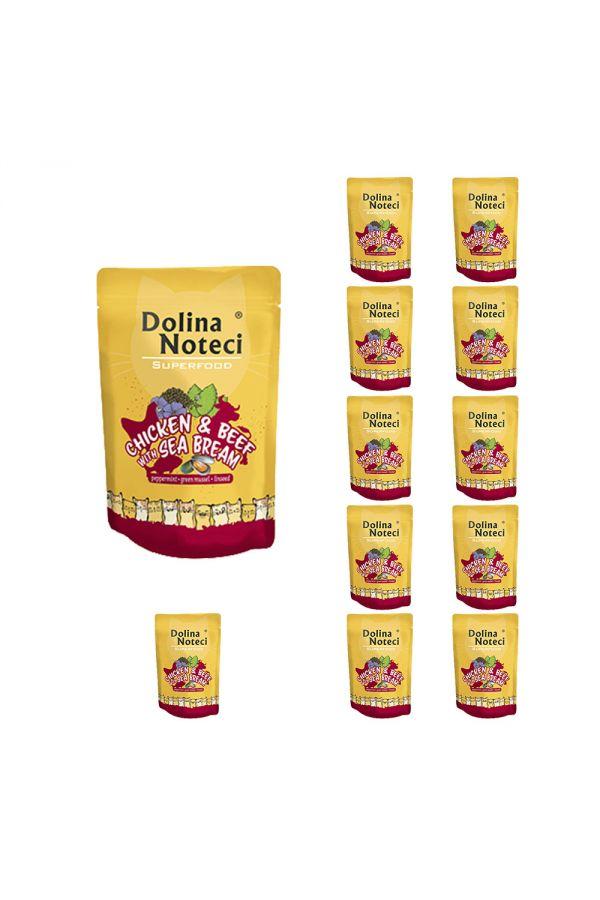 Pakiet Dolina Noteci Superfood Cat Kurczak z Wołowiną i Doradą 12 x 85 g