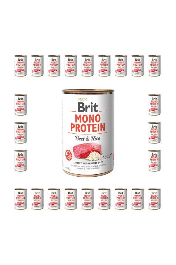 Pakiet Brit Mono Protein Beef & Rice Wołowina 24  x 400 g