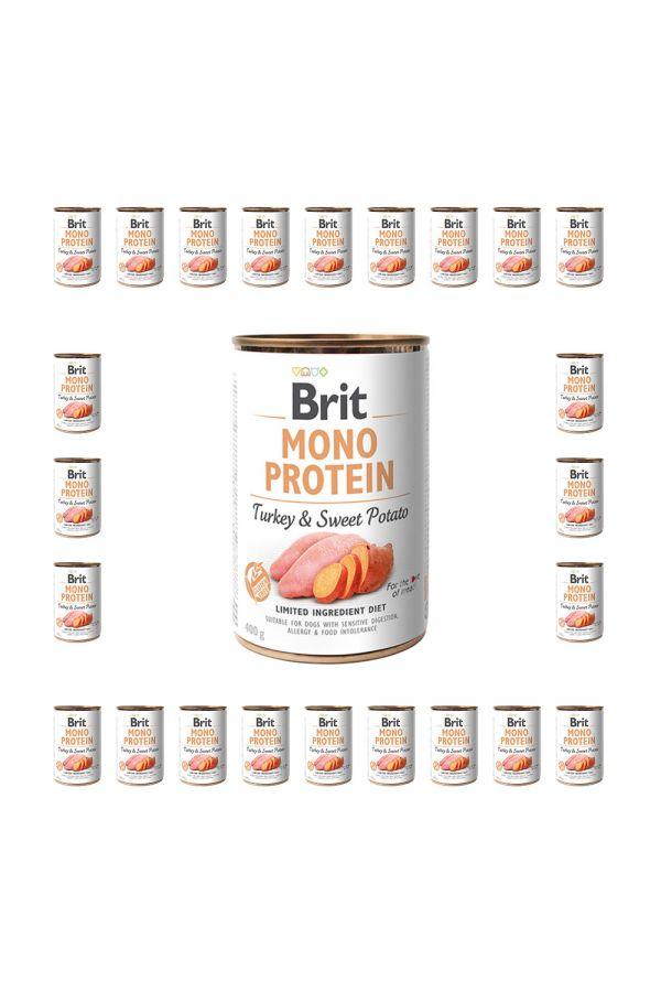 Pakiet Brit Mono Protein Turkey & Sweet Potato Indyk Bataty 24 x 400 g