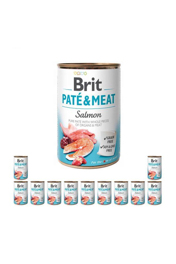 Pakiet Brit Pate & Meat Salmon Łosoś 12 x 400 g