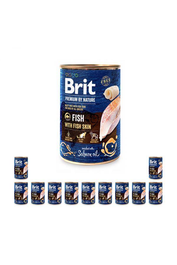 Pakiet Brit Premium By Nature Fish with Fish Skin Ryba 12 x 400 g