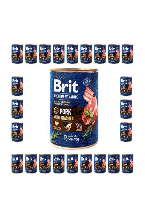 Pakiet Brit Premium By Nature Pork With Trachea Wieprzowina Tchawica 24 x 400 g
