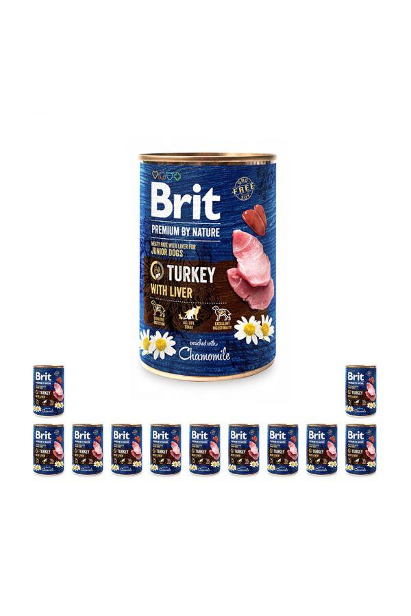 Pakiet Brit Premium By Nature Turkey with Liver Indyk Wątróbka dla Szczeniąt 12 x 400 g