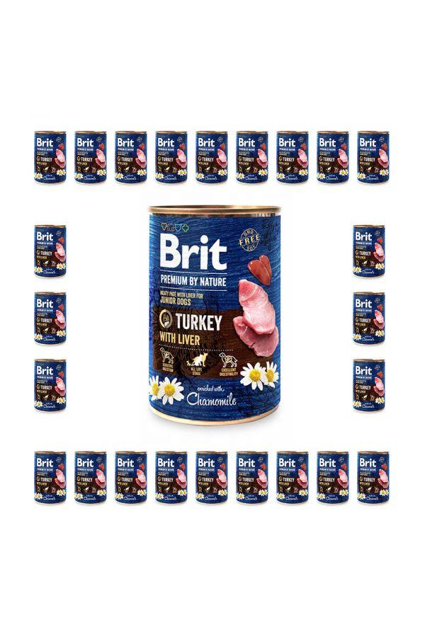 Pakiet Brit Premium By Nature Turkey with Liver Indyk Wątróbka dla Szczeniąt 24 x 400 g