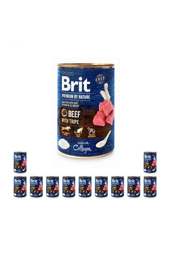 Pakiet Brit Premium By Nature Beef with Tripe Wołowina Flaczki 12 x 400 g