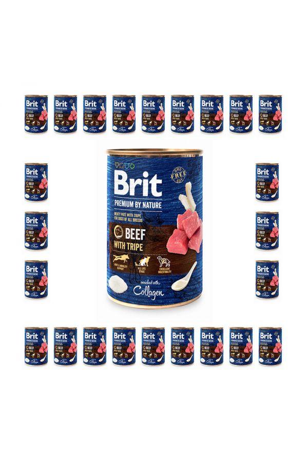 Pakiet Brit Premium By Nature Beef with Tripe Wołowina Flaczki 24 x 400 g