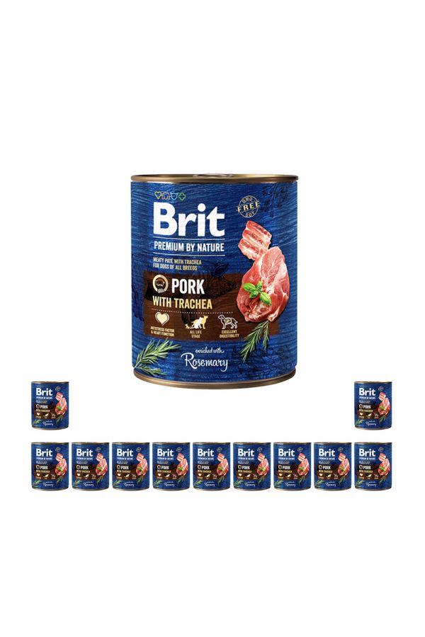 Pakiet Brit Premium By Nature Pork With Trachea Wieprzowina Tchawica 12 x 800 g
