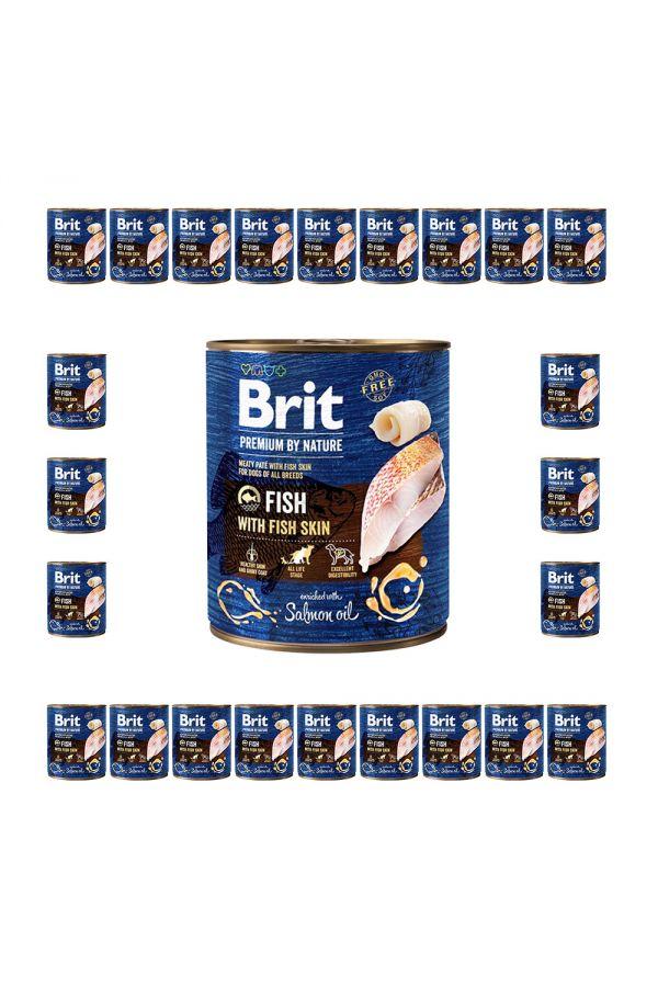 Pakiet Brit Premium By Nature Fish with Fish Skin Ryba 24 x 800 g