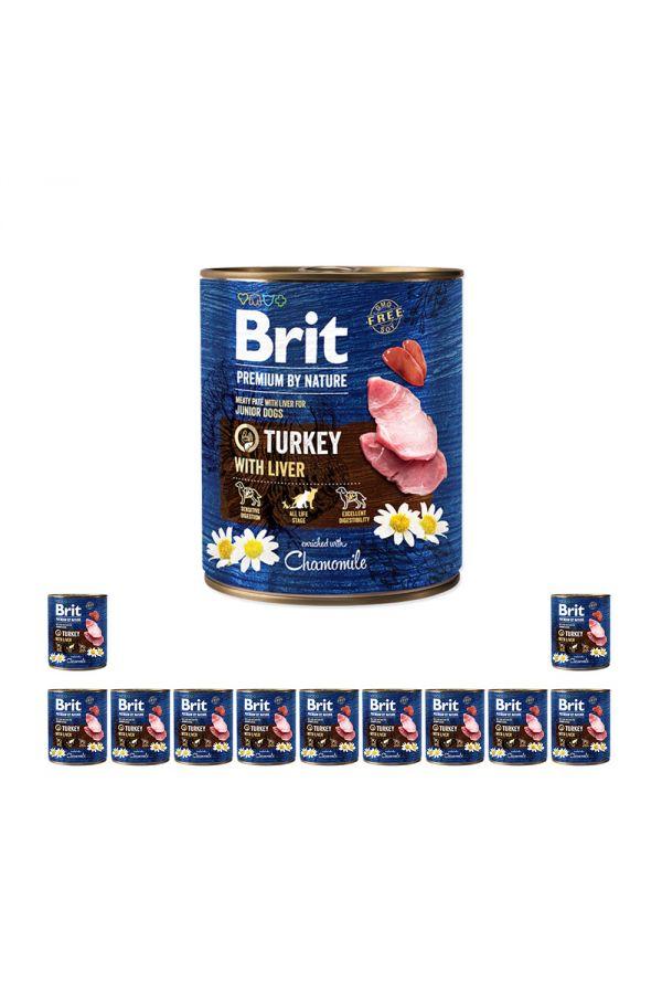 Pakiet Brit Premium By Nature Turkey with Liver Indyk Wątróbka dla Szczeniąt 12 x 800 g