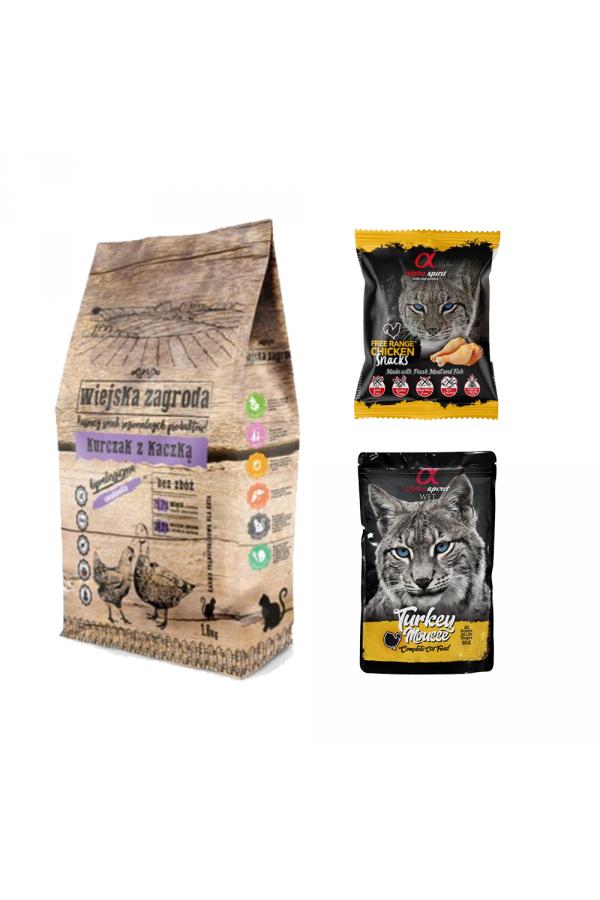 Pakiet Wiejska Zagroda Kurczak z Kaczką dla Kota 1,6 kg + GRATISY!