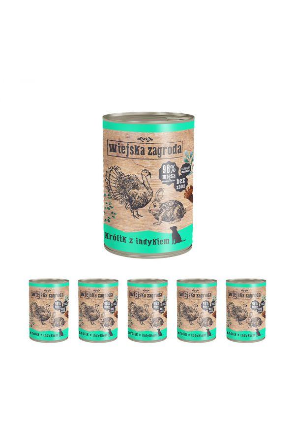 Pakiet Wiejska Zagroda Królik z Indykiem 5 x 400 g + 1 gratis!