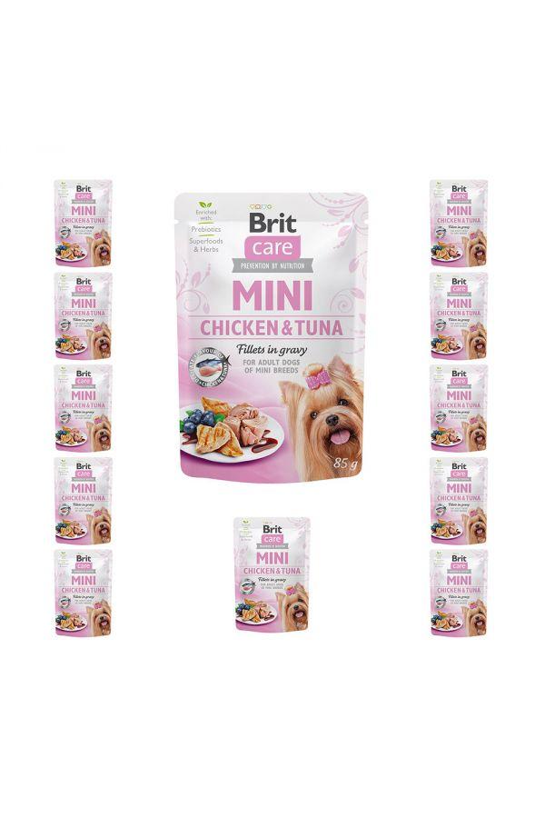 Pakiet Brit Care Adult Mini Chicken&Tuna Fillets in Gravy Kurczak z Tuńczykiem w Sosie 11x85 G + 1 GRATIS!