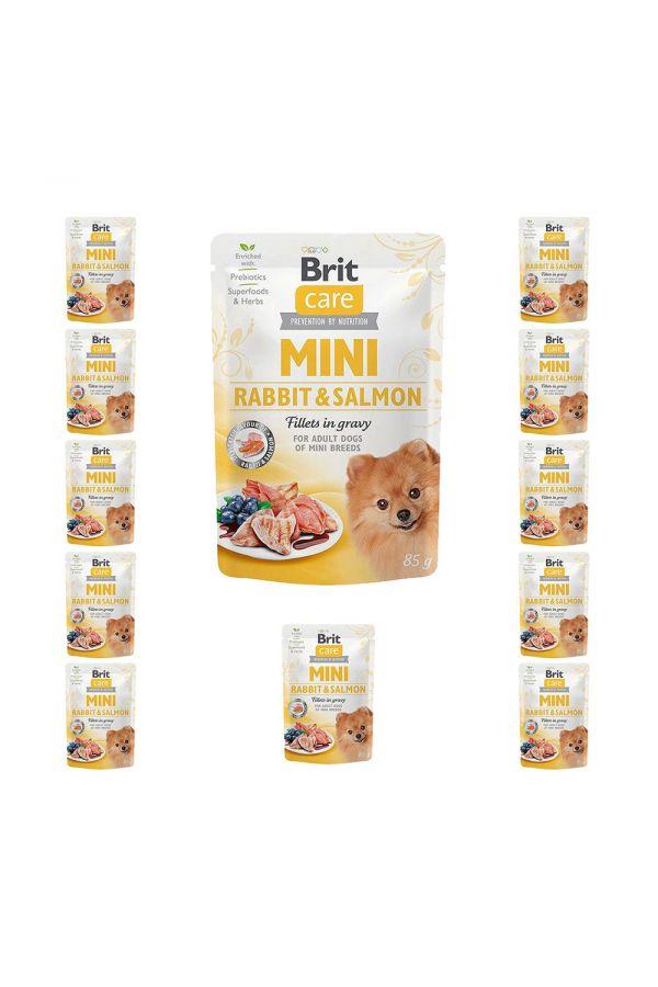 Pakiet Brit Care Mini Adult Rabbit&Salmon Królik z Łososiem Dla Małych Ras 11x85 g + 1 GRATIS!