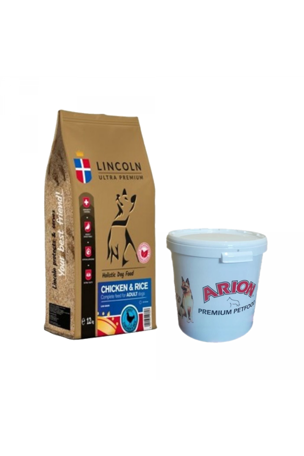 Pakiet Lincoln Chicken & Rice Kurczak Ryż Adult 12 kg + Pojemnik na suchą karmę GRATIS!