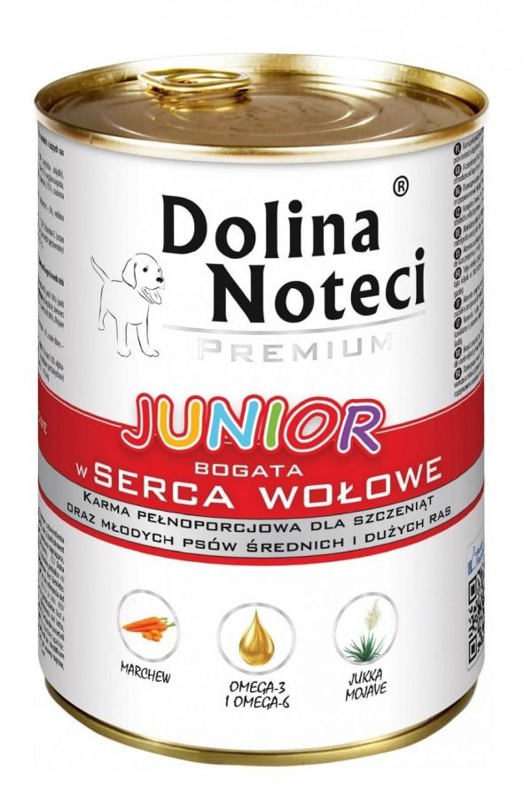 Dolina Noteci Premium Bogata w Serca Wołowe Junior 400 g
